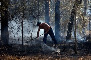 ###Ocala Star-Banner, Grass fire , Silver Springs Shores FL - Contact photographer at 352-598-7976### Silver Springs Shores resident Jamie Spencer(cq) tries to help with the putting out the grass fire near Bahia Court Way and Bahia Road Court, very near the CSX Rail Road tracks, Thursday afternoon, March 2, 2006, Silver Springs Shores, FL. ( Jannet Walsh/Star-Banner)2006