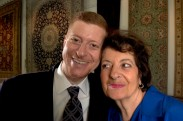 ###Rare Redhead: Jamal Fakhoury, 48, Ocala### Redheaded Dr. Jamal Fakhoury, 48, left, of Ocala, is a chiropractor by profession, poses with his mother Marian Fakhoury, of Ocala. American born, Dr. Fakhoury is originally from the Detroit, Michigan area, but spent part of life growing up in the Middle East. A Muslim by faith, has a heritage with links to Lebanon from his mother's family and Palestine on his father's side. Fakhoury has a younger brother Omar Fakhoury, of Ocala, with red hair, including his father, both grandfathers, a grandmother and even a daughter with a signs of auburn red hair. Fakhoury is surrounded by Persian rugs at the Cyrus Rug Gallery, in Ocala, Saturday afternoon, April 9, 2005, Ocala, FL, USA. (Jannet Walsh/Star-Banner)2005