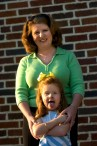 ###Rare Redhead: Mother and daughter redheads: Jennifer Gordon, 35, and daughter Grace Gordon, 5, at First Presbyterian Church, Ocala### Jennifer Gordon, 35, and her daughter Grace Gordon, 5, both of Ocala, both have red hair. Here the redheaded pair are on the steps of their church, First Presbyterian Church, on Southeast 3rd Street, Tuesday evening, April 12, 2005, Ocala, FL, USA. (Jannet Walsh/Star-Banner)2005