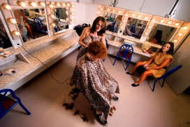 """###Rare Redhead: Peter Prevete, 19, Ocala### Redheaded Peter Prevete, 19, of Ocala, has his hair cut for the role of """"Friar Tuck"""" for """"Robin Hood"""" at the CFCC theatre. Rose Fant, a cosmetologist, start the more than an hour hair cut while student actress Fallon Burner looks on, right. He has aproxatimely 2.5 to 3 inch curly hair, Thursday afternoon, April 14, 2005, Ocala, FL, USA. (Jannet Walsh/Star-Banner)2005"""