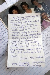 ###Ocala Star-Banner - Fourth day of the trial of Robert Freeman(cq) of Citra, Ocala, FL - Contact photographer at 352-598-7976. Photo Editor Alan Youngblood, 352-598-7967### Here is one of the two hand written notes from the family about the life of the late Alice Broom(cq). This note is signed by Inez Henderson(cq), Dorothy Munnerlyn(cq) and Marjorie Daymon(cq) , all sisters of the late Alice Broom(cq) including a photo of the sisters and daugthers of Broom(cq). The dogs were owned by Robert Freeman(cq). The trial of Freeman(cq) is in the court room of Judge Hale Stancil(cq) at the Marion County Courthouse. This is the fourth day of the trial of Robert Freeman(cq), of Citra. Freeman(cq)'s s pit bulls that mauled Alice Broom(cq) to death in front of her home in Citra, in 2003, Thursday afternoon, April 25, 2006, Ocala, FL. ( Photo by Jannet Walsh/Star-Banner)2006