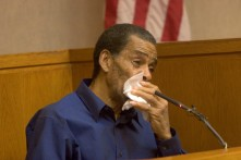 ###Ocala Star-Banner - Fourth day of the trial of Robert Freeman(cq) of Citra, Ocala, FL - Contact photographer at 352-598-7976. Photo Editor Alan Youngblood, 352-598-7967### A weeping Robert Freeman(cq) takes the witness stand as he is questioned about the mauling of the late Alice Broom(cq). The trial of Freeman(cq) is in the court room of Judge Hale Stancil(cq) at the Marion County Courthouse. This is the fourth day of the trial of Robert Freeman(cq), of Citra. Freeman(cq) owned six pit bulls that mauled Alice Broom(cq) to death in front of her home in Citra, in 2003, Thursday afternoon, April 27, 2006, Ocala, FL. ( Photo by Jannet Walsh/Star-Banner)2006
