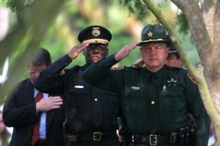 ###Law Enforcement Memorial Day Ceremony##Retired Ocala Police Chief Morrey Deen, left, Ocala Police Chief Samuel Williams, center, and Marion County Sheriff Ed Dean, salute and give their respect to the fallen law enforcement during the present the memorial wreath during the Law Enforcement Memorial Day Ceremony at the Marion County Court House, the Friday morning, May 27, 2005, Ocala, FL, USA. (Jannet Walsh/Star-Banner)2005