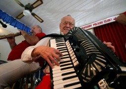 ###NEWS - Dinner and dance at the General K. Pulaski (cq) Citizens Club, in Belleview - CONTACT PHOTOGRAPHER 352-598-7976 - cell### Joe Peltz (cq) left, of Summerfield, is the band leader of the Melotones. Peltz has been playing the accordian for 70 years. Dave Wroblicky (cq), left, of Casselberry, plays a saxophone and clarinet. The General K. Pulaski Citizens Club, located on Southeast 113th Street, Belleview, originally is a social club, and was celebrating Father's Day, Sunday afternoon, June 12, 2005, in Belleview, FL. (Jannet Walsh/Star-Banner)2005