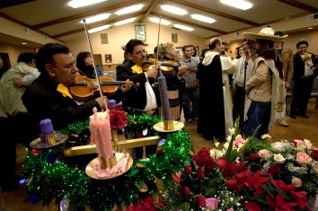 "Ocala Star-Banner - Advent: Our Lady of Guadalupe Catholic Center, known in Spanish as La Guadalupna, Advent celebrations, Ocala, FL - Advent wreath with candles, music and songs of Our Lady of Guadalupe about 2:00 am Monday, while the party diehards drink warm, spiced tea. An estimated 700 people attended a special Advent program, the four weeks prior to Christmas, starting shortly after midnight on Monday, Our Lady of Guadalupe Catholic Center, and also known in Spanish as La Guadalupna, located at 11153 W. State Road 40, in the ""Little Mexico"" area of rural horse farms, awaited the arrival of the Los Caporales Mariachi, of Tampa. The celebration or feast day of the patroness of the center Our Lady of Guadalupe is traditionally celebrated in Mexico with a serenade starting just after midnight on December 12, according to Father Alfonso Cely , with the Hispanic Ministry of Blessed Trinity Catholic Church. Father Cely ministers to a many Mexican parish at Our Lady of Guadalupe with special celebrations and customs from Mexico. Nine days of special prayers, Masses, recitation of the Rosary, started the special Advent program that is of Mexican origin for Our Lady of Guadalupe, Monday morning, December 12, 2005, Ocala, FL. ( Jannet Walsh/Star-Banner)2005"