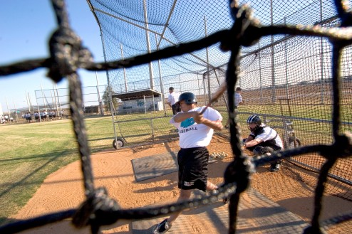 ###Ocala Star-Banner, West Port High School baseball team, Ocala, FL - contact photographer at 352-598-7976### , Johnmarg Perales(cq) practices hitting the ball at the West Port High School baseball field, Ocala, Wednesday afternoon, Feb. 15, Ocala, FL. ( Jannet Walsh/Star-Banner)2006