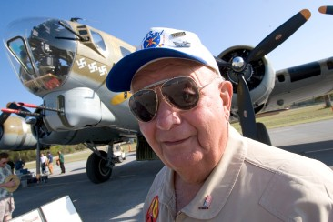 "###Ocala Star-Banner, Paul ""Bud"" Haedike, B-17 Bombardier, Dunnellon, FL - Contact photographer at 352-598-7976### Paul ""Bud"" Haedike, a World War II B-17 Bombardier, stands next to a B-17 at the Dunnellon Airport, Friday afternoon, March 17, 2006, Dunnellon, FL. ( Jannet Walsh/Star-Banner)2006"
