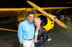 In 2005 I photographed Jimmy and Bette Leeward, standing in front of their 1947 Piper J-3 Cub plane in their hangar at Leeward Air Ranch, Feb. 2, 2005, in Ocala, FL. I was living and working in Florida, an employee of The New York Times Company. Leeward died when he crashed his World War II fighter P-51 Mustang during the Reno Air Races in Reno Nevada Friday September 16, 2011. (Jannet Walsh/Star-Banner)2005